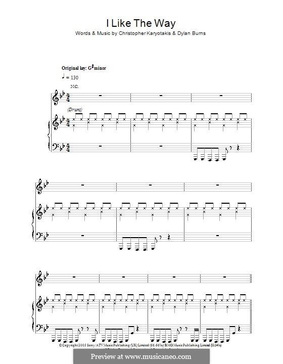I Like the Way (The Bodyrockers): Für Stimme und Klavier (oder Gitarre) by Christopher Karyotakis, Dylan Burns