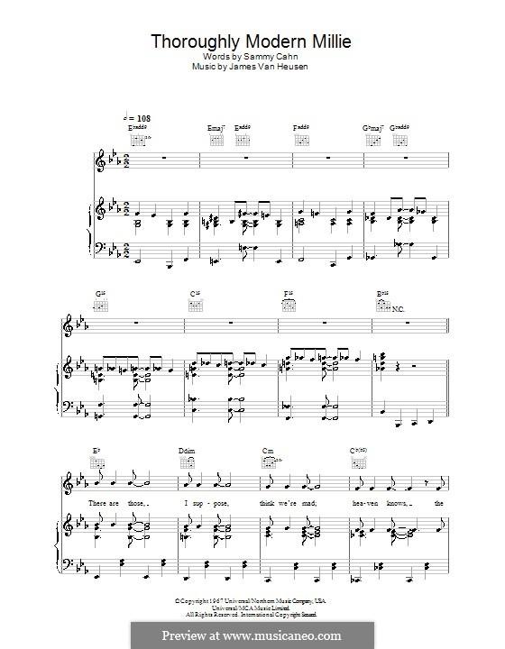 Thoroughly Modern Millie: Für Stimme und Klavier by Jimmy Van Heusen