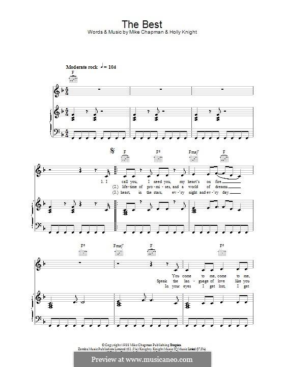 (Simply) The Best (Tina Turner): Für Stimme und Klavier (oder Gitarre) by Holly Knight, Mike Chapman