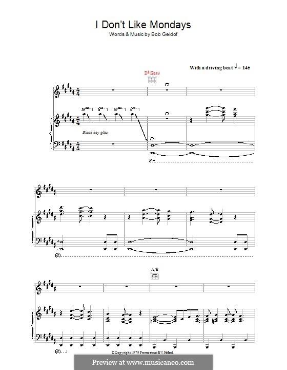 I Don't Like Mondays (The Boomtown Rats): Für Stimme und Klavier (oder Gitarre) by Bob Geldof