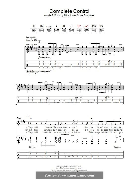 Complete Control (The Clash): Für Gitarre mit Tabulatur by Joe Strummer, Mick Jones