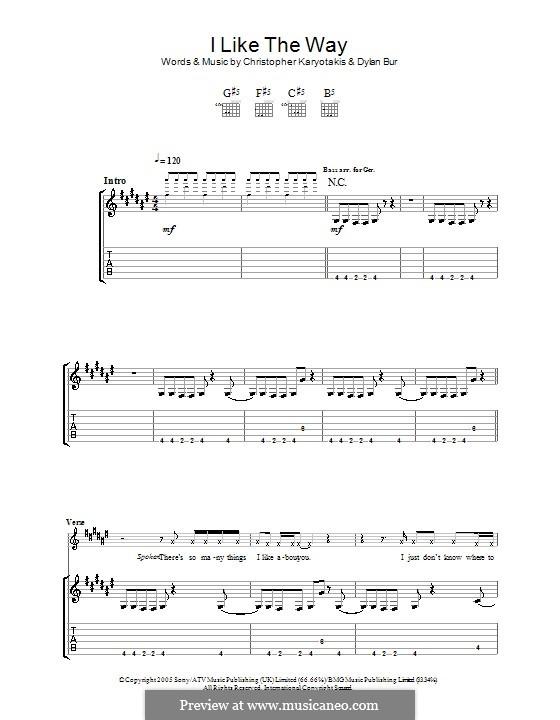 I Like the Way (The Bodyrockers): Für Gitarre mit Tabulatur by Christopher Karyotakis, Dylan Burns