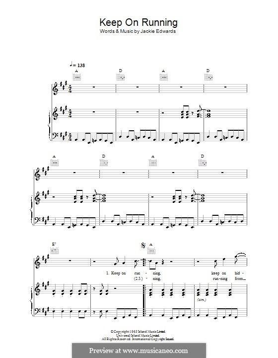 Keep on Running (The Spencer Davis Group): Für Stimme und Klavier (oder Gitarre) by Jack Edwards