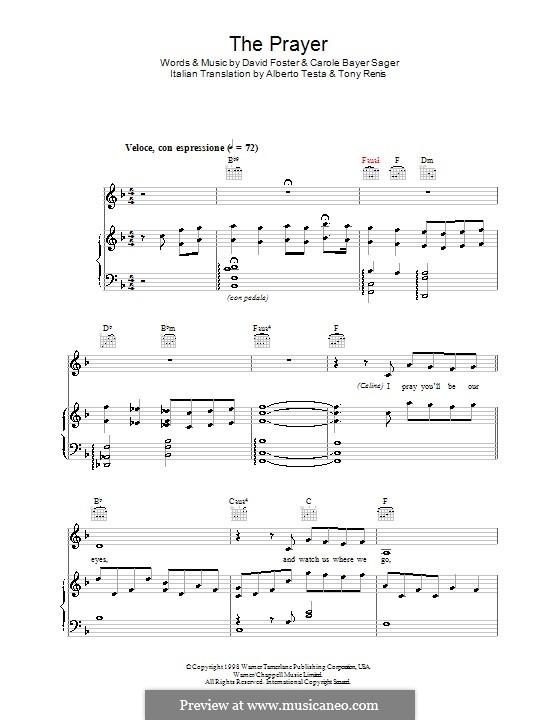 The Prayer: Für Stimme mit Klavier oder Gitarre (Andrea Bocelli and Celine Dion) by Carole Bayer Sager, David Foster