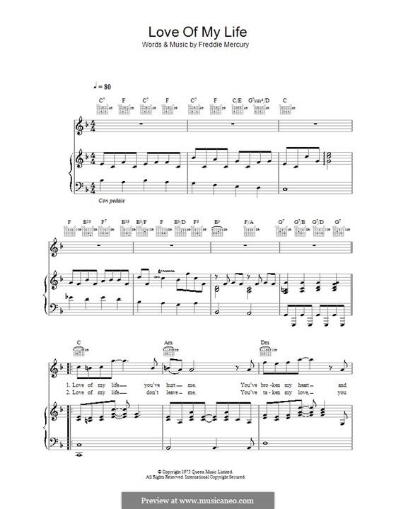 Love of My Life (Queen): Für Stimme und Klavier (oder Gitarre) by Freddie Mercury