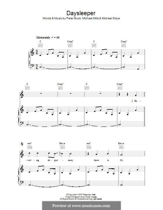 Daysleeper (R.E.M.): Für Stimme und Klavier (oder Gitarre) by Mike Mills, Michael Stipe, Peter Buck
