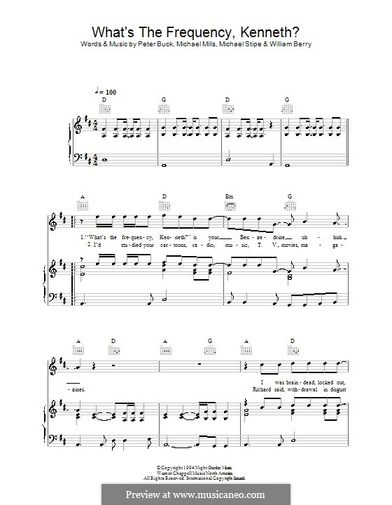 What's the Frequency Kenneth? (R.E.M.): Für Stimme und Klavier (oder Gitarre) by Mike Mills, Michael Stipe, Peter Buck, William Berry