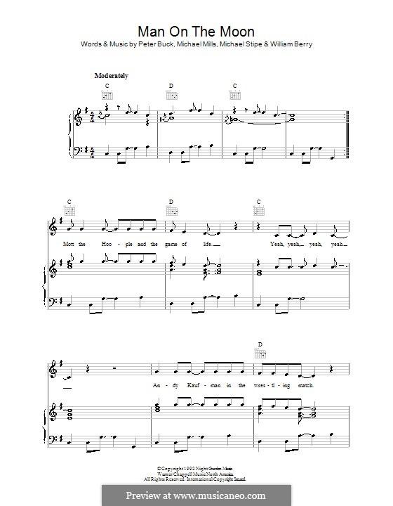 Man on the Moon (R.E.M.): Für Stimme und Klavier (oder Gitarre) by Mike Mills, Michael Stipe, Peter Buck, William Berry