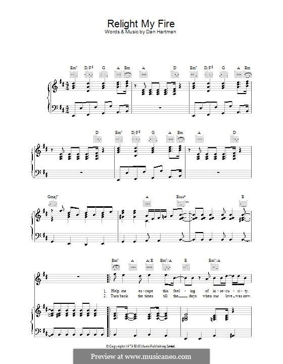 Relight My Fire (Take That): Für Stimme und Klavier (oder Gitarre) by Dan Hartman