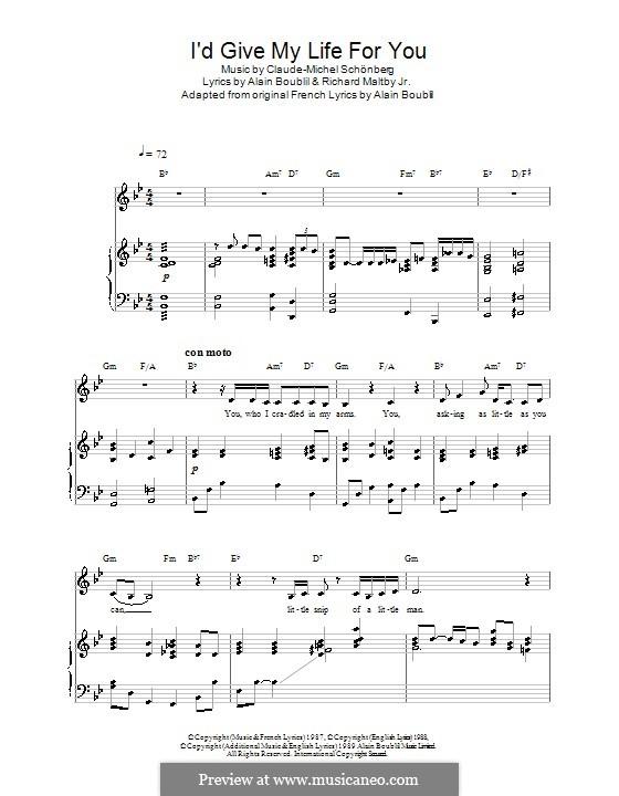 I'd Give My Life for You: Für Stimme und Klavier (oder Gitarre) by Claude-Michel Schönberg