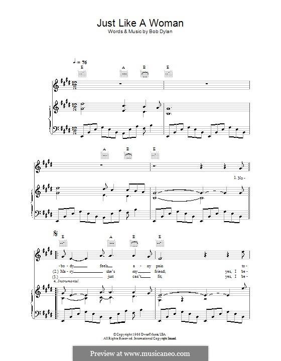 Just Like a Woman: Für Stimme und Klavier (oder Gitarre) by Bob Dylan