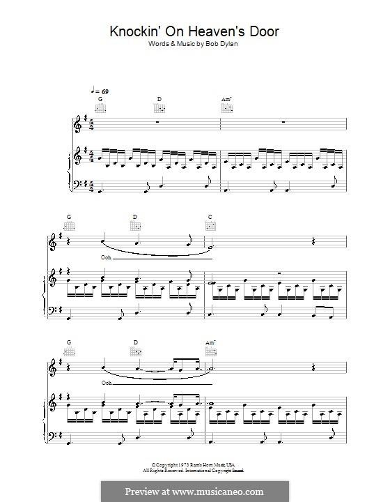 Knockin' on Heaven's Door: Für Stimme und Klavier (oder Gitarre) by Bob Dylan
