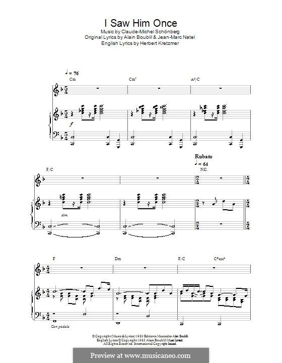 I Saw Him Once: Für Stimme und Klavier (oder Gitarre) by Claude-Michel Schönberg