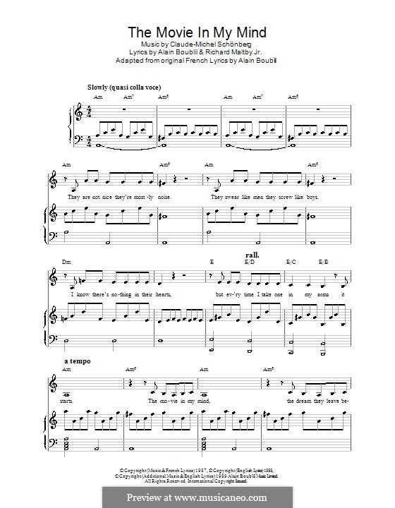 The Movie in My Mind: Für Stimme und Klavier (oder Gitarre) by Claude-Michel Schönberg
