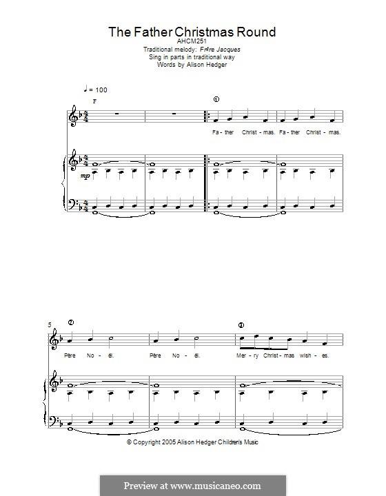 The Father Christmas Round: Für Stimme und Klavier (oder Gitarre) by folklore