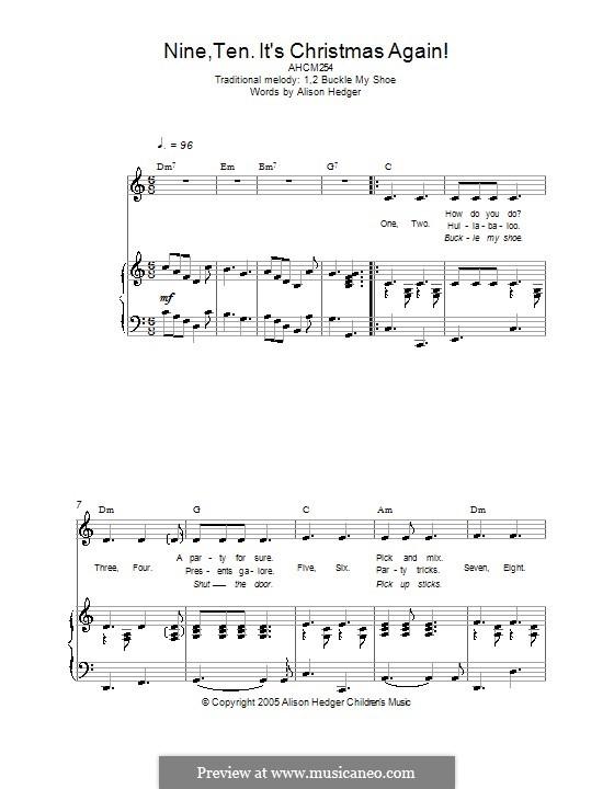 Nine, Ten, It's Christmas Again!: Für Stimme und Klavier (oder Gitarre) by folklore