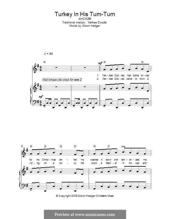 Turkey in His Tum-Tum: Für Stimme und Klavier (oder Gitarre) by folklore
