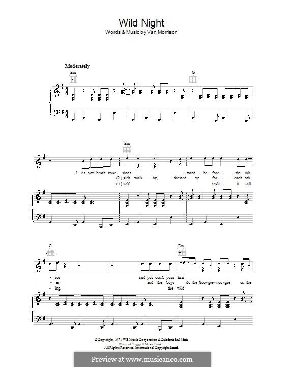 Wild Night: Für Stimme und Klavier (oder Gitarre) by Van Morrison