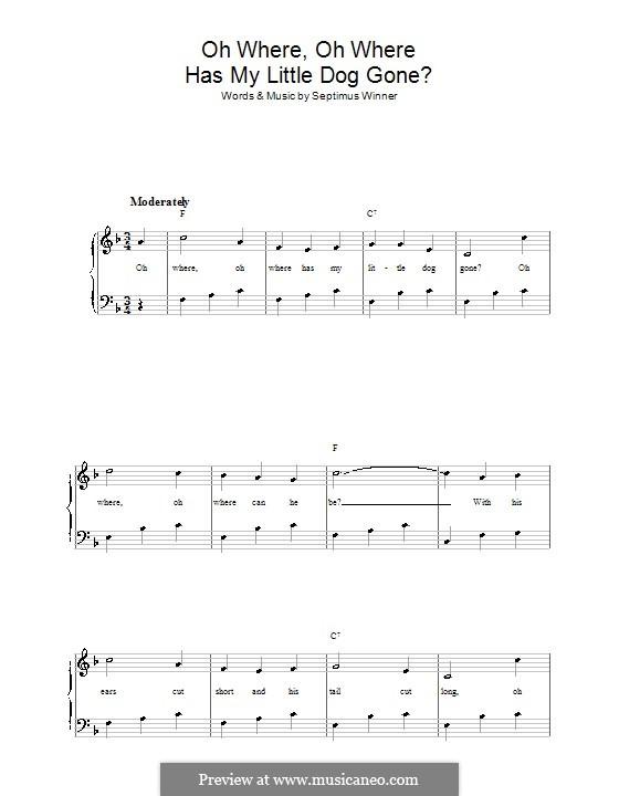 Oh Where, Oh Where Has My Little Dog Gone?: Für Stimme und Klavier by Septimus Winner
