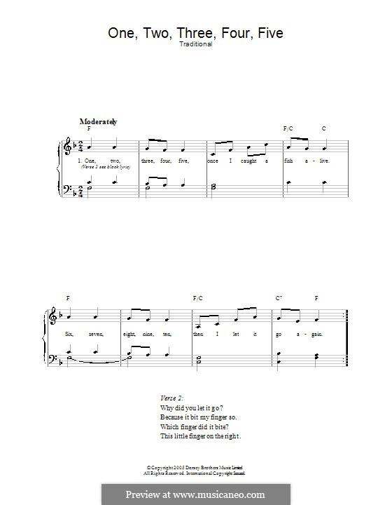 One Two Three Four Five: Für Stimme und Klavier by folklore