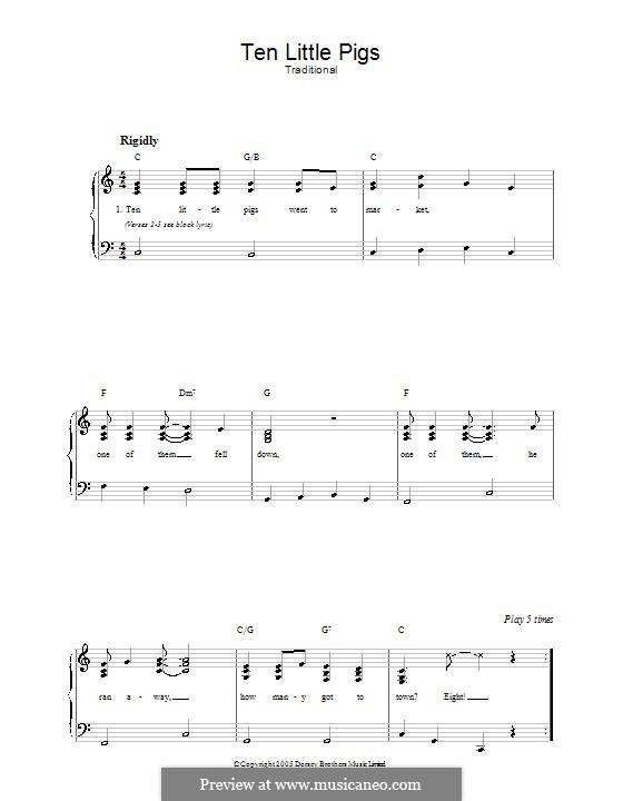 Ten Little Pigs: Für Stimme und Klavier by folklore