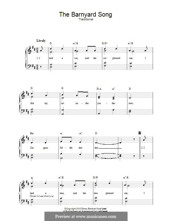 The Barnyard Song: Für Stimme und Klavier by folklore