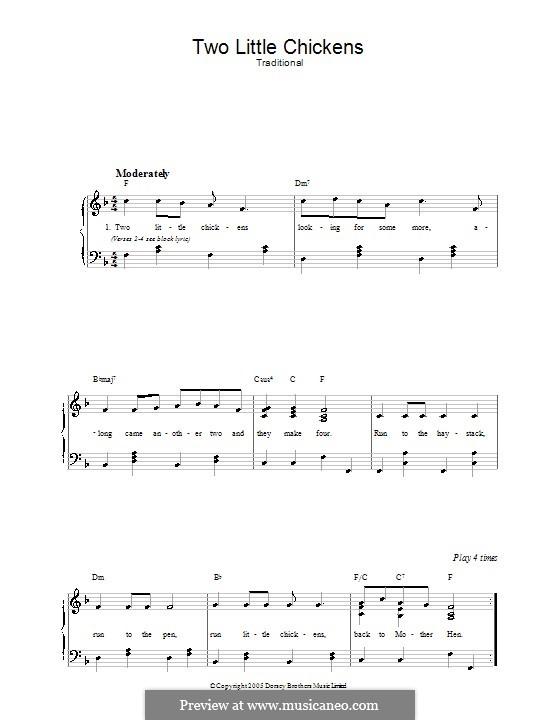 Two Little Chickens: Für Stimme und Klavier by folklore