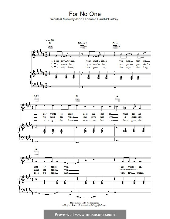 For no One (The Beatles): Für Stimme und Klavier (oder Gitarre) by John Lennon, Paul McCartney