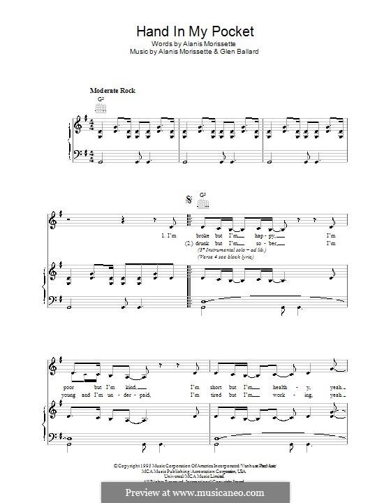 Hand in My Pocket: Für Stimme und Klavier (oder Gitarre) by Alanis Morissette, Glen Ballard