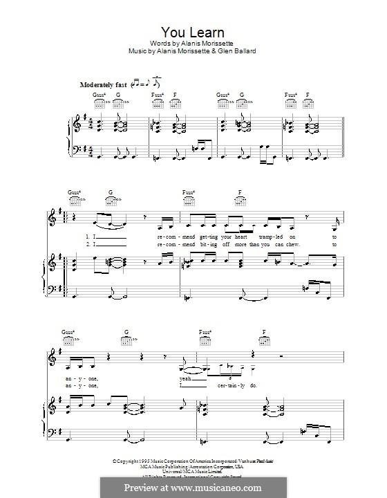 You Learn: Für Stimme und Klavier (oder Gitarre) by Alanis Morissette, Glen Ballard