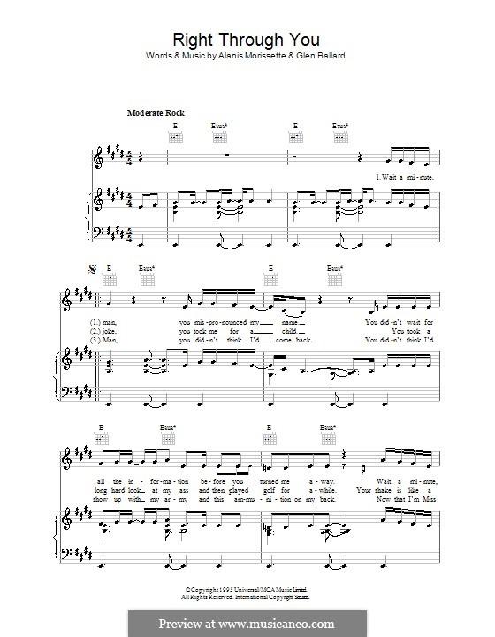 Right Through You: Für Stimme und Klavier (oder Gitarre) by Alanis Morissette, Glen Ballard