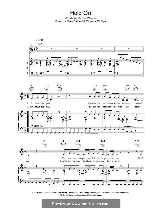 Hold On: Für Stimme und Klavier (oder Gitarre) by Chynna Phillips, Glen Ballard