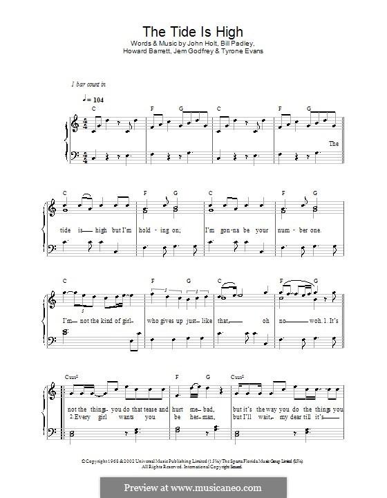 The Tide is High (Get the Feeling): Für Klavier, leicht (Atomic Kitten) by Bill Padley, Howard Barrett, Jeremy Godfrey, John Holt, Tyrone Evans
