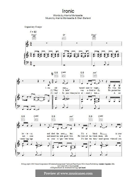 Ironic: Für Stimme und Klavier (oder Gitarre) by Alanis Morissette, Glen Ballard