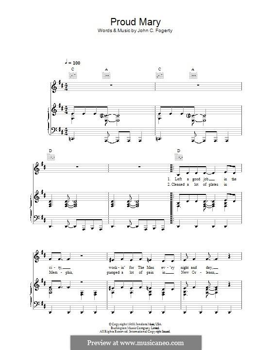 Proud Mary (Creedence Clearwater Revival): Für Stimme und Klavier (oder Gitarre) by John C. Fogerty