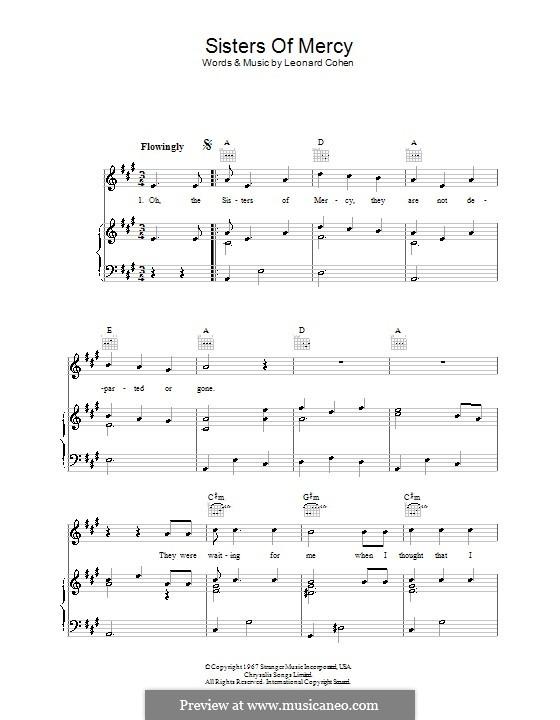 Sisters of Mercy: Für Stimme und Klavier (oder Gitarre) by Leonard Cohen