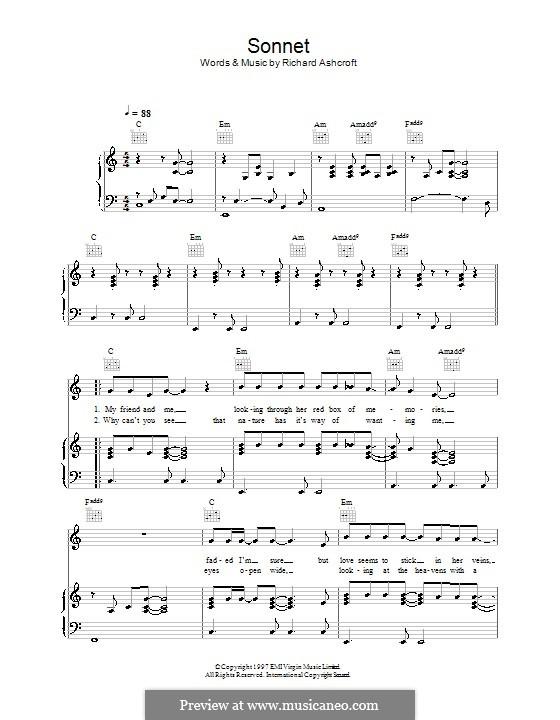 Sonnet (The Verve): Für Stimme und Klavier (oder Gitarre) by Richard Ashcroft