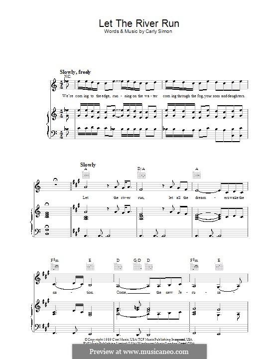 Let the River Run: Für Stimme mit Klavier oder Gitarre by Carly Simon