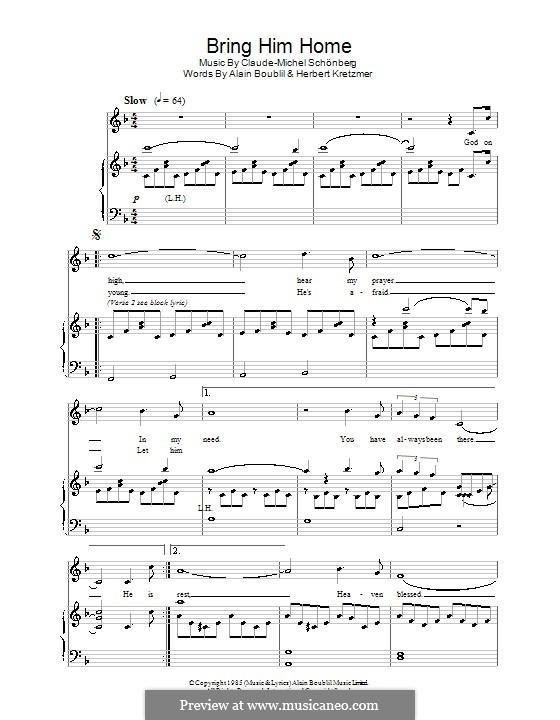 Bring Him Home: Für Stimme und Klavier by Claude-Michel Schönberg