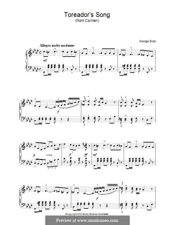 Toreador's Song: Für Klavier (F Minor) by Georges Bizet