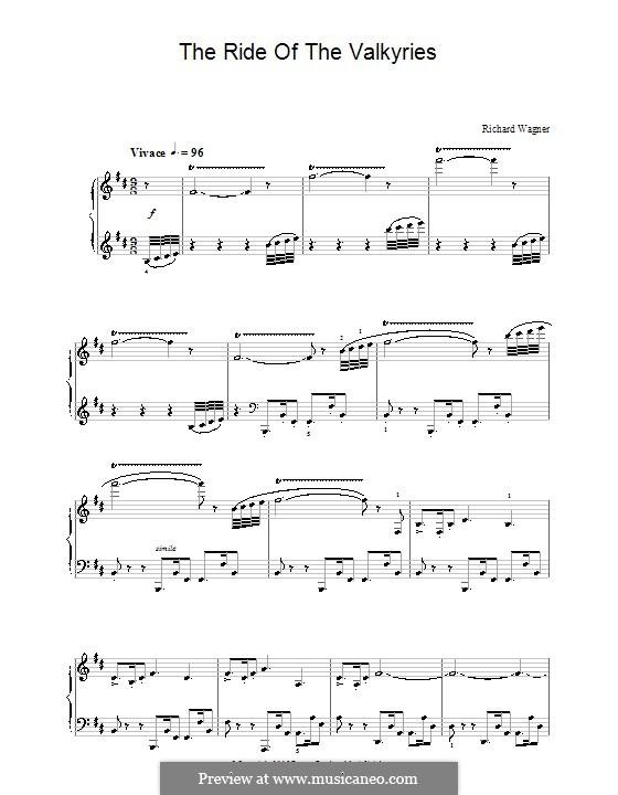 Die Walküre, WWV 86b: Der Ritt der Walküren, für Klavier by Richard Wagner