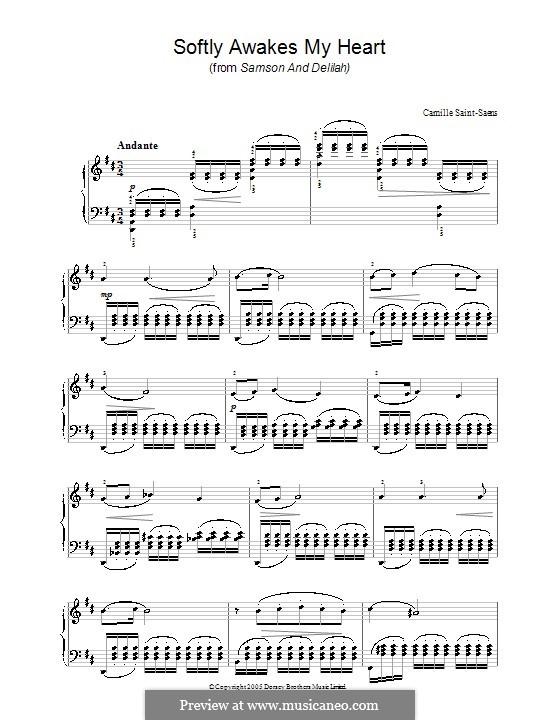 Samson und Dalila, Op.47: Akt II, Sieh, mein Herz erschliesset sich, für Klavier by Camille Saint-Saëns