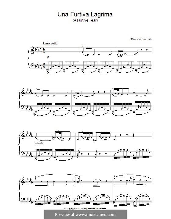 Der Liebestrank: Akt II, Romanze Nemorino 'Una furtiva lagrima', für Klavier by Gaetano Donizetti