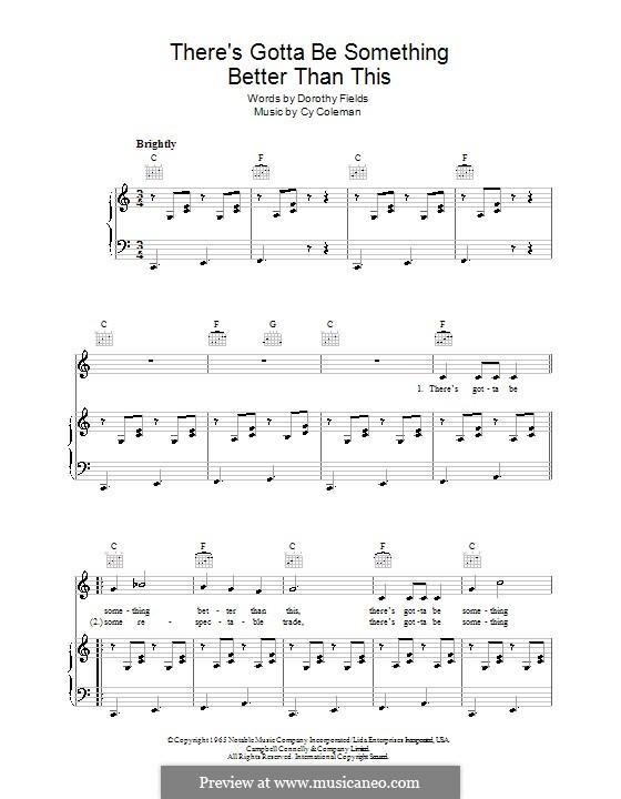 There's Gotta Be Something Better Than This: Für Stimme und Klavier (oder Gitarre) by Cy Coleman
