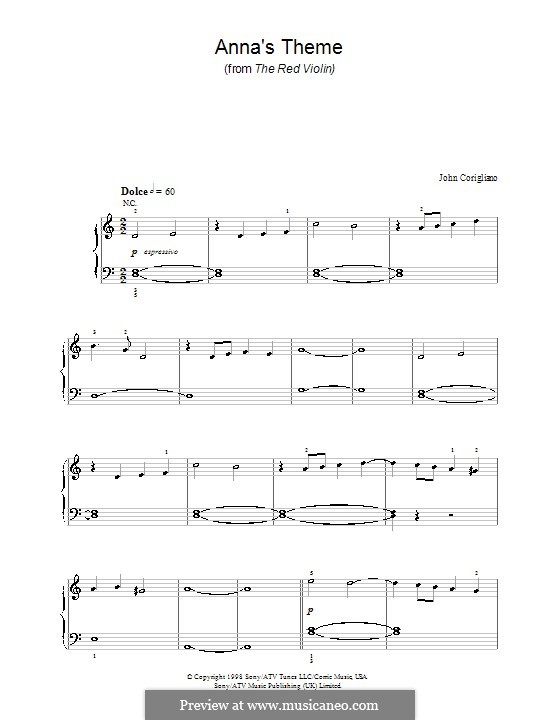 Anna's Theme (from The Red Violin): Für Klavier, leicht by John Corigliano