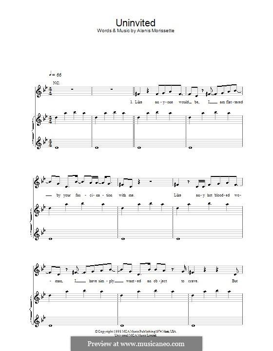 Uninvited: Für Stimme und Klavier (oder Gitarre) by Alanis Morissette