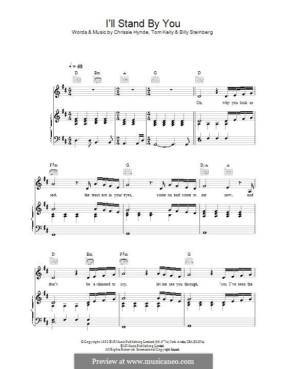 I'll Stand By You (The Pretenders): Für Stimme und Klavier oder Gitarre (D-Dur) by Billy Steinberg, Chrissie Hynde, Tom Kelly