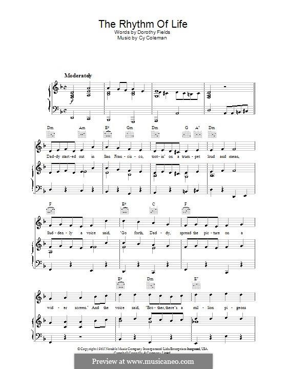 The Rhythm of Life (from Sweet Charity): Für Stimme und Klavier (oder Gitarre) by Cy Coleman