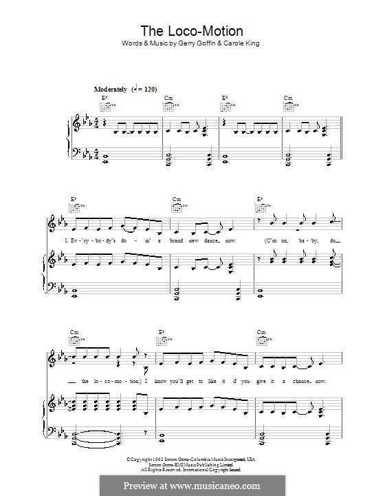 The Loco-Motion: Für Stimme mit Klavier oder Gitarre (Kylie Minogue) by Carole King, Gerry Goffin