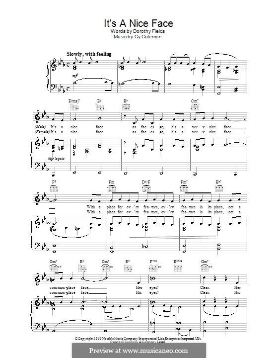 It's a Nice Face: Für Stimme und Klavier (oder Gitarre) by Cy Coleman